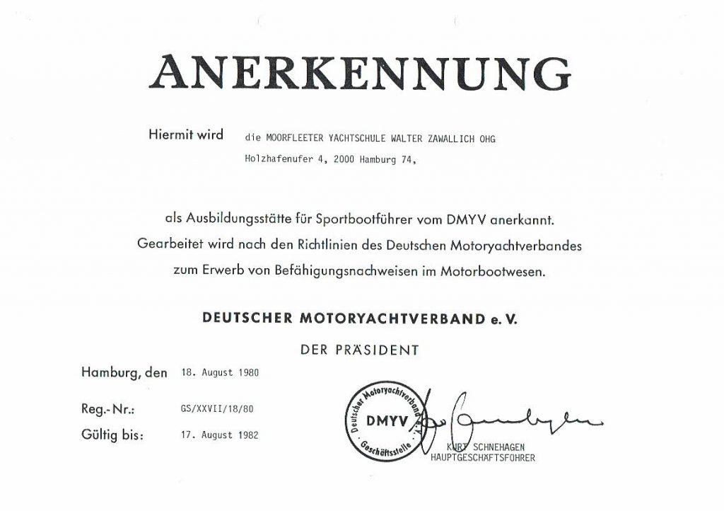 Anerkennungsurkunde von 1980