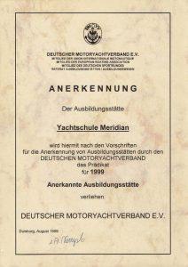Anerkennungsurkunde des DMYV 1999